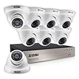 ZOSI 8CH HD-TVI 1080N Video Security System w/8 x 1.0MP(1280x720) Outdoor Indoor Dome Cameras,65ft(20m) IR LED Night Vision,3.6mm lens, NO Hard Drive,Motion Detection Push Alerts(White)