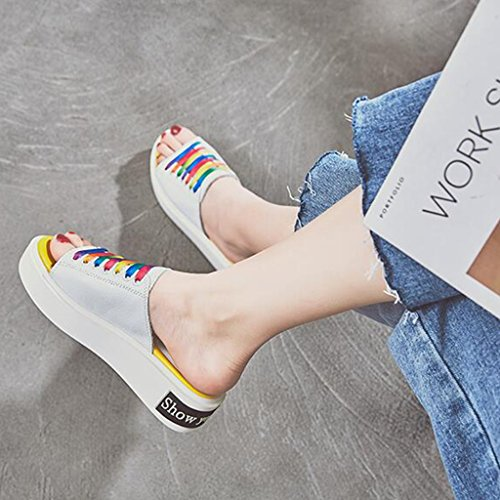 Casual Summer Thick Fashion Slippers Open Toe Shoes Sandals Shoes Female White Muffin xBqzIS