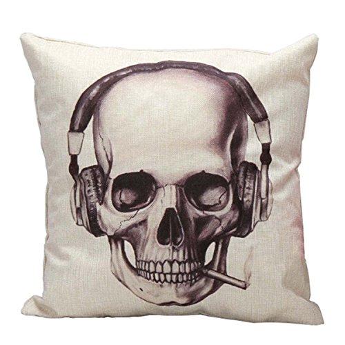 (Culon Cotton Linen Square Decorative Throw Pillow Case Sofa Cushion Cover Skull 18