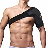 FITTOO Adjustable Shoulder Support Neoprene Straps Gym Sports Shoulder Brace - Injury Recovery, Muscle Relief, Joint Protection - Unisex One size, Fits Both Left or Right