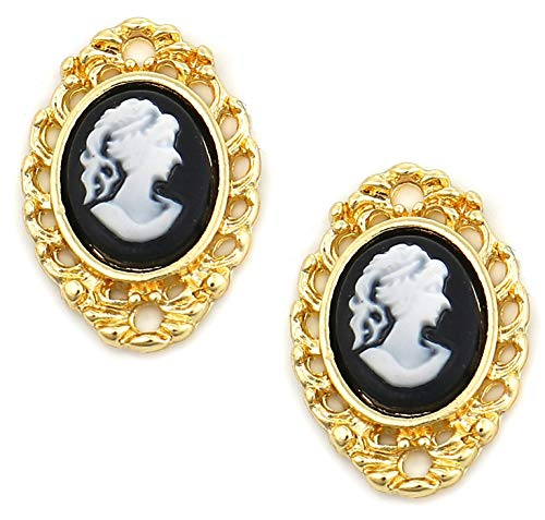 - Cameo Black and White Beauty Lady Connector Charms, 10 Pieces - Gold Tone, 3/4 x 1/2 Inch