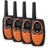FLOUREON 4 Packs Walkie Talkies Two Way Radios 22 Channel 3000M (MAX 5000M Open Field) UHF Long Range Handheld Talkies Talky (Orange)