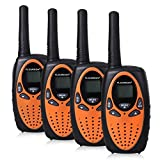 FLOUREON 4 Pack Kids Walkie Talkies 22 Channel Two Way Radios Long Range 3000M (MAX 5000M Open Field) UHF Handheld Outdoor Walkie Talky (Orange)