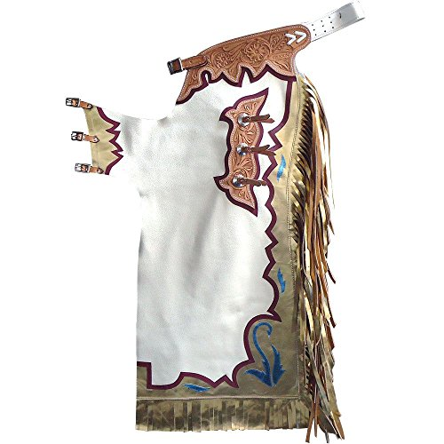 Pro Bull Rodeo - HILASON BULL RIDING SOFT SMOOTH WHITE LEATHER PRO RODEO WESTERN CHAPS