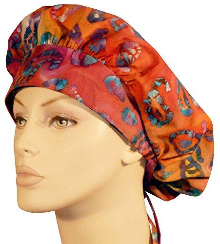 Bouffant Medical Scrub Cap - Pink & Orange Batik (Batik Earth)