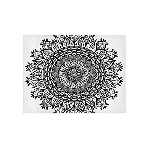 - Lotus Utility Area Rug,Arabesque Mandala with Flower Effects Oriental Folk Boho Sacred Artful Illustration for Home,120