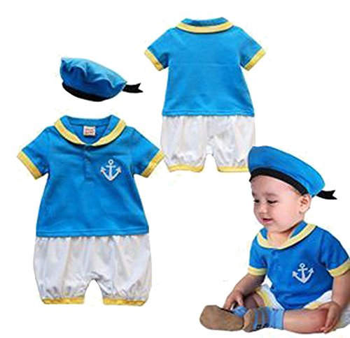 Baby Boy Duck Inspired Costume Short Sleeve Romper and Hat