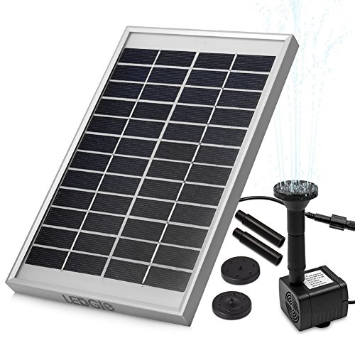 LEDGLE 5W Solar Fountain Pump Garden Water Pump for Courtyard, Maximum Flow 380L/h (Solar Pond Waterfall Pump)