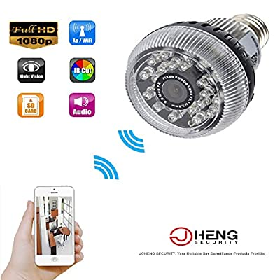 JC P2P 1080P HD Wifi IP Camera Mirror Bulb Hidden Camera Mini Camcorders Motion Activated Camcorder Security DVR for Android IOS APP Remote View Spy Nanny Camera