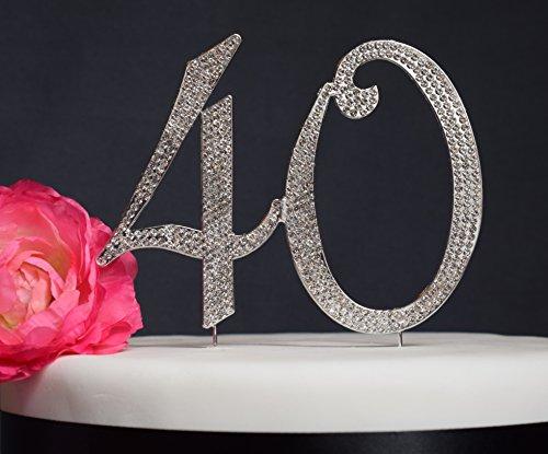 40 Cake Topper - Premium Crystal Rhinestones - Anniversary or Birthday Cake Topper Decoration - Monogram Number 40 (40 Silver)