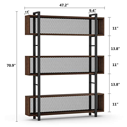 Tribesigns 5-Shelf Bookshelf with Metal Wire, Vintage Industrial Bookcase Display Shelf Storage Organizer with Metal Frame for Home Office, 47.2'' L x 9.4'' D x 71'' H (Retro Brown) by Tribesigns (Image #7)