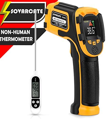 Infrared Thermometer No Touch Digital Laser Temperature Gun with Color Display -58 1112 -50 600 Adjustable Emissivity – for Cooking BBQ Freezer – Meat Thermometer Included -Non Body Thermometer