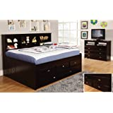 Discovery World Furniture Full Daybed with 3 Drawers and Trundle, Desk, Hutch and Chair in Espresso Finish