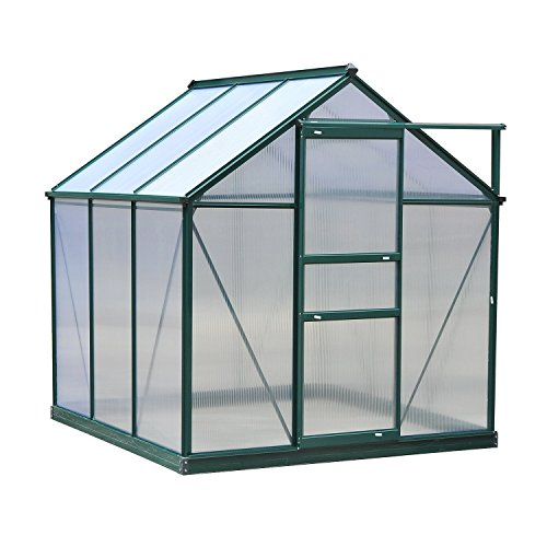 Outsunny 6'L x 6'W x 7'H Polycarbonate Portable Walk-In Garden Greenhouse ()