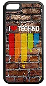 I Love Techno-Wall-Art- Case for the Apple Iphone 5C- Hard Black Plastic Snap On Case