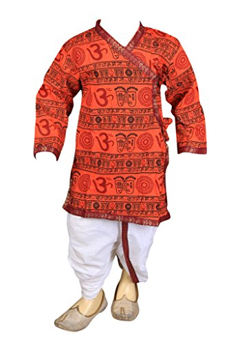 Focil Bollywood Style Orange Om Printed Dhoti & Kurta Pant Set For Kids