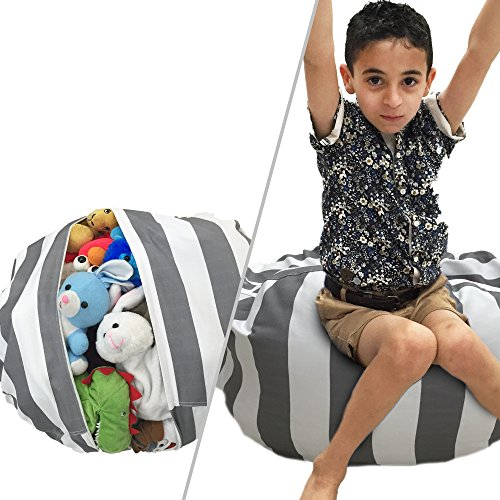 Stuffed Animal Storage Bean Bag Chair | Perfect Storage Solution For Extra Blankets / Pillows / Covers / Towels / Clothes | by Wonderfix (Grey)
