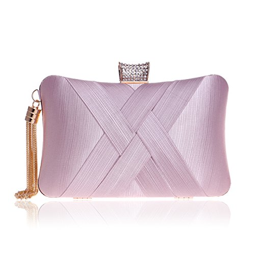 MY Women's Evening Clutches Bags Silk Satin Party Handbags Bridal Wedding Prom Purses with Tassel Pendant,Pink