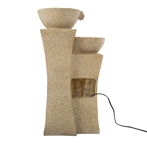 Outdoor Water Fountain With LED Lights- Lighted Pots Fountain with Cascading Bowls and Soothing Sound for Patio, Lawn and Garden Décor By Pure Garden by Pure Garden (Image #3)