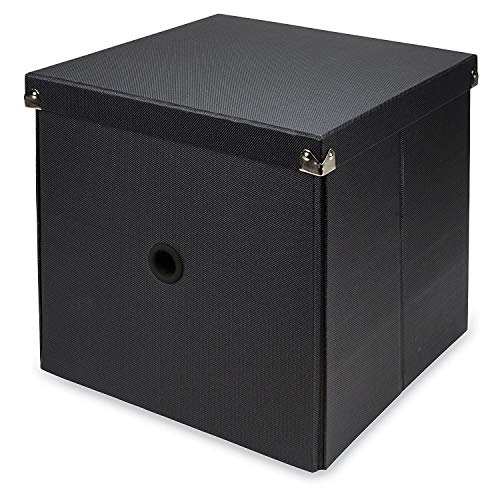 Samsill Pop n' Store Decorative Storage Box with Lid, Collapsible and Stackable, Cube Storage Box, Interior Size (11