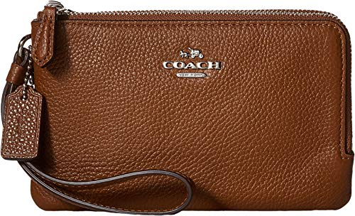 Coach Women's Polished Pebbled Leather Double Corner Zip Bag Silver/Saddle Cell Phone Wallet