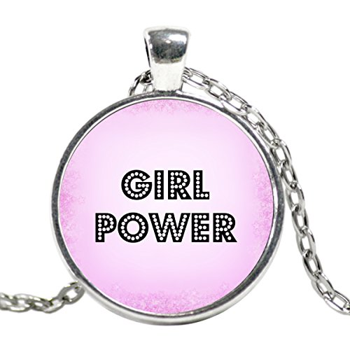 Super Nanny Costume (Hot Pink Girl Power Silver Plated Charm Statement Necklace a Great Gift for Her! Handmade Grl Pwr Pendant)