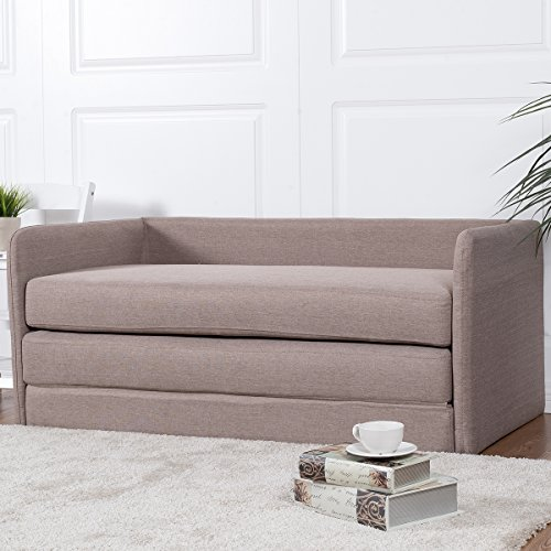 Giantex Foldable Sleeper Sofa Bed Couch Loveseat lounge Living Room Furniture (Beige)