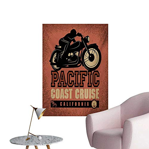 (Anzhutwelve Adventure Photographic Wallpaper Pacific Coast Cruise California Motorcycle Driving Journey Traveling Hand DrawnRuby Black W32 xL48 Funny Poster)