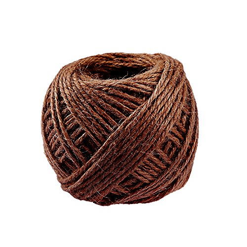 GerTong 1 Roll 40M Hemp Rope, Natural Rustic Jute Twine Jute Yarn String Hessian Rope Cord DIY for Drawstring Decor Antique Craft Wedding Gift Tags Wrapping Gardening Projects (Coffee)