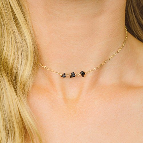 Black onyx beaded chain choker necklace in 14k gold fill - 12