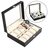 In Stock Kitchen Cabinets 10 Watch Box for Men, Synthetic Leather Watch Organizer Jewelry Display Case Sturdy & Secure LockBlack(US STOCK)