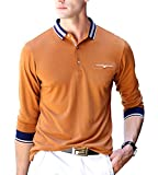 XTAPAN Men's Casual Long Sleeve Slim Fit Polo Cotton T Shirt 54 8889 Yellow
