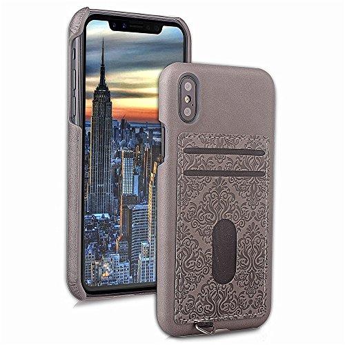 JIALUN-carcasa de telefono IPhone X caso en relieve de cuero de la PU caso elegante cubierta trasera con ranura caja del teléfono para IPhone X ( Color : Blue ) Gray