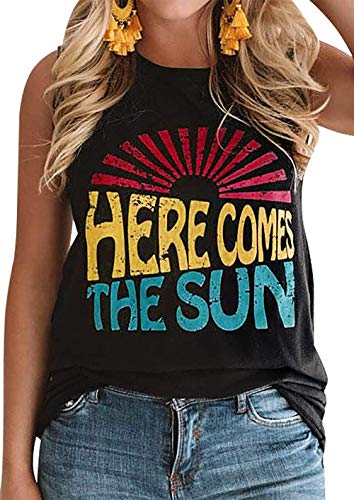 MOMOER Here Comes The Sun Tank Tops Women Vintage Sunshine Graphic Tees Summer Sleeveless Letter Print T Shirt (Black, S) ()