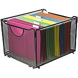 Modern Black Metal Mesh File Box/Foldable Storage Crate/Home Office Folder Holder Organizer Rack