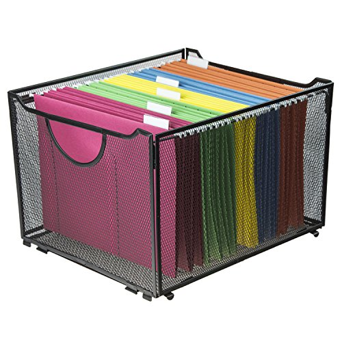 Modern Black Metal Mesh File Box / Foldable Storage Crate / Home Office Folder Holder Organizer (Filing Crates)