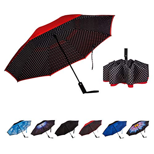 NOORNY Inverted Umbrella Double Layer Automatic Folding Reserve Umbrella Windproof UV Protection for Rain Car Travel Outdoor Men Women Red Dot