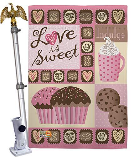 Breeze Decorbreeze Decor Hs101048 Bo 02 Love Is Sweet Spring Valentines Decorative Vertical House Flag Set 28 X 40 W Flagpole Multi Color Dailymail