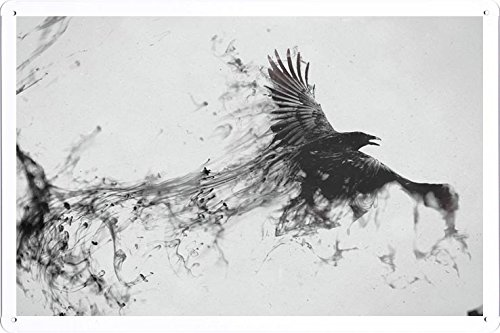 Abstract Sign Raven Bird Flying Smoke Black White 92907 Metal Tin Poster