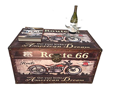 (Styled Shopping Route 66 Steamer Trunk Wood Storage Wooden Treasure Chest - Medium Trunk)