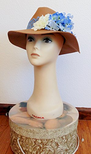 Brown Wool Felt Hat with Hydrangeas (Hat Hydrangea)
