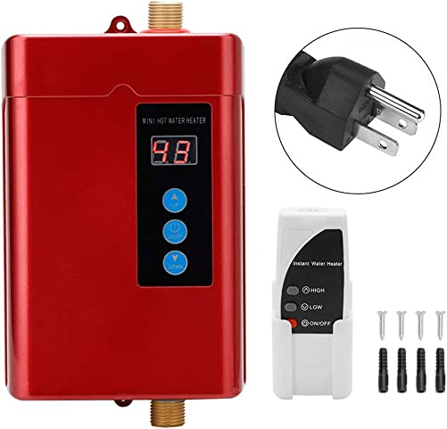 Aufee Water Heater, Household Mini Electric Water Heater Instant Tankless Water Heater Heating Machine, with Temperature Display U.S. regulations-Red