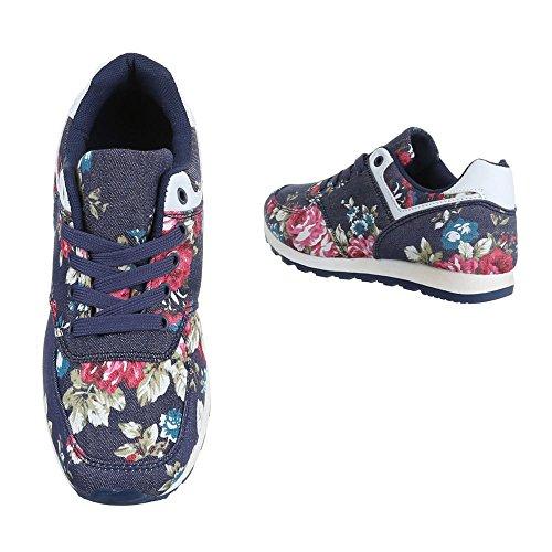 Ital-Design Sneaker Donna, Blu (Blau Rosa BL176), 38 EU