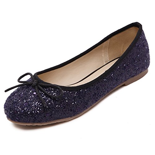 VogueZone009 Womens Closed Round Toe Pull On Sequins Flats-Shoes, Purple-Sequin, 39