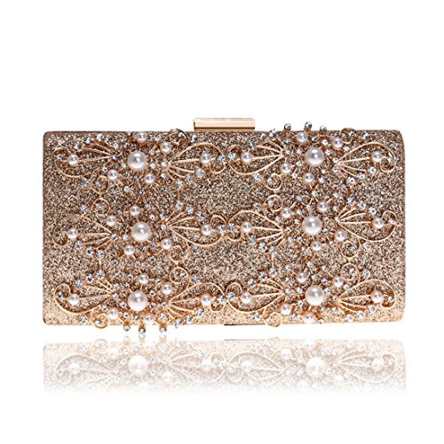 Evening Gold Bag Clutch Purse Bag Diamond Banquet Ladies Crossbody JESSIEKERVIN Shoulder UFCqf5x