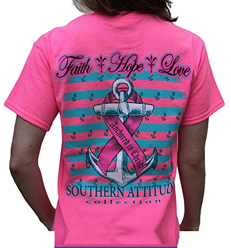 Southern Attitude Hope Breast Cancer Awareness Pink Short Sleeve Shirt (X-Large)