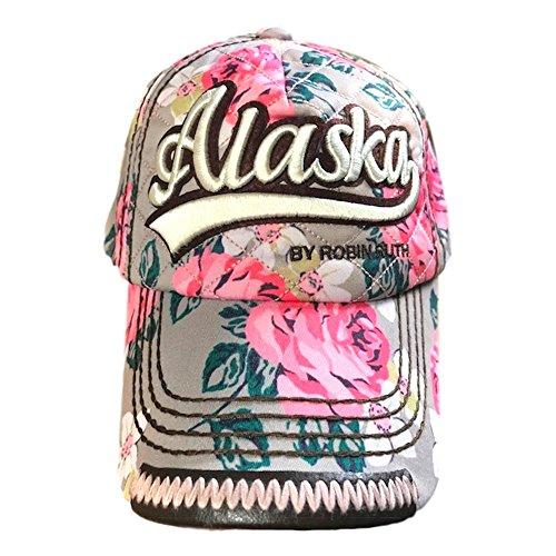 Robin Ruth Quality Vibrant Floral Alaska Ball Cap Hat (Tan/Pink)]()