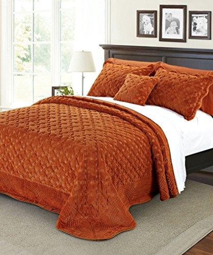 Serenta Faux Fur Quilted Tatami 4 Piece Bedspread Set, Qu...