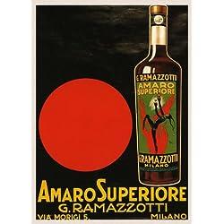 "Red Devil Amaro Superiore G. Ramazzotti Milano Milan Italian Drink Italy Italia 16"" X 24"" Image Size Vintage Poster Reproduction"
