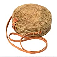 Bali Harvest Handwoven Round Woven Ata Rattan Bag Colorful Batik Linen Inside (with Genuine Leather Strap)